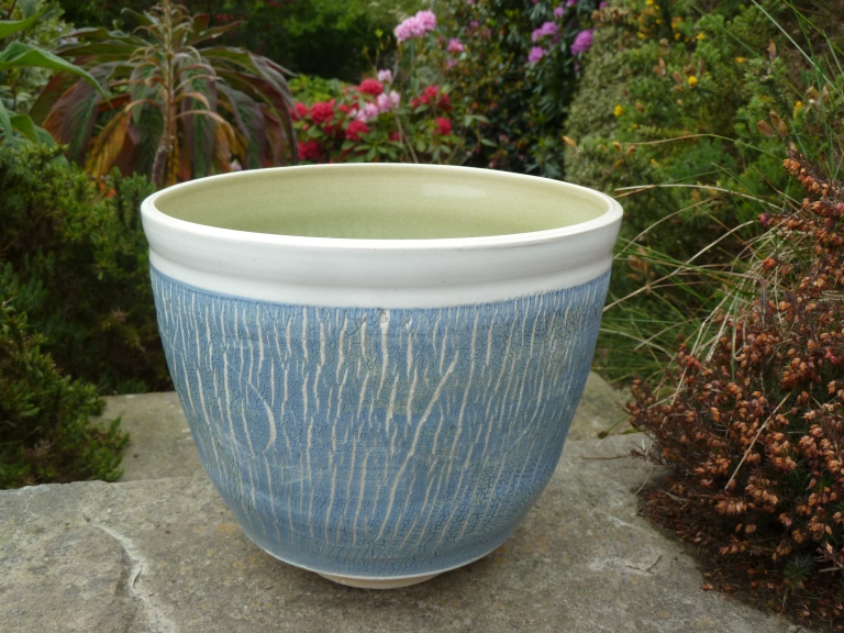Crackle textured vessel, raised on foot, 30cm, Sold