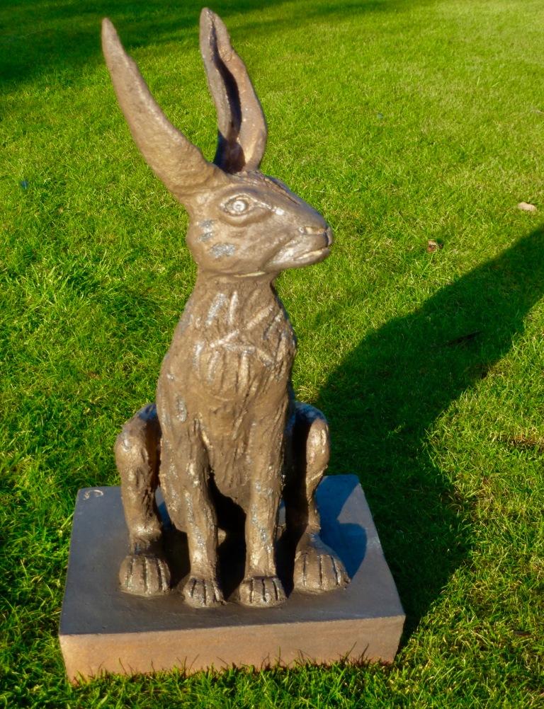HARE - bronze glaze 29x56cm Stoneware